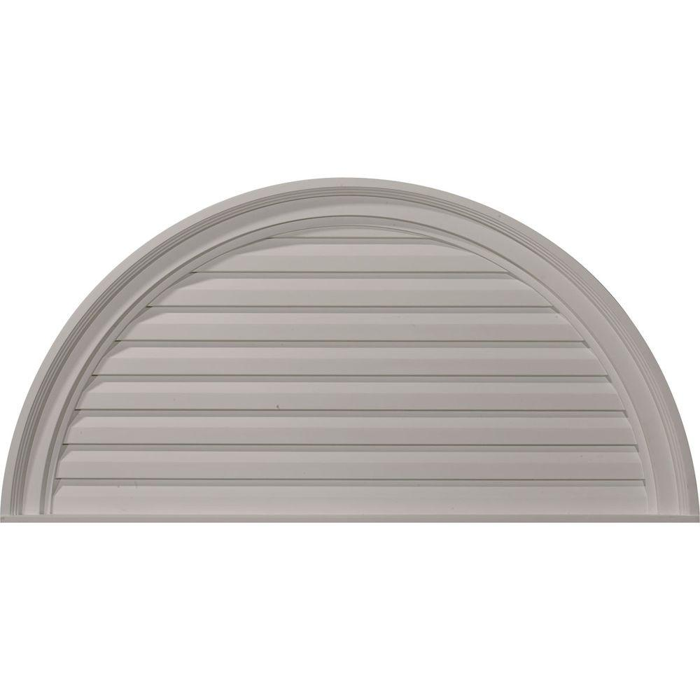 Ekena Millwork 2 in. x 36 in. x 18 in. Decorative Half Round Gable Louver Vent