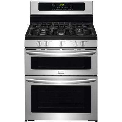5.9 cu. ft. Double Oven Gas Range with Self Cleaning Convection in Lower Oven in Smudge-Proof Stainless Steel