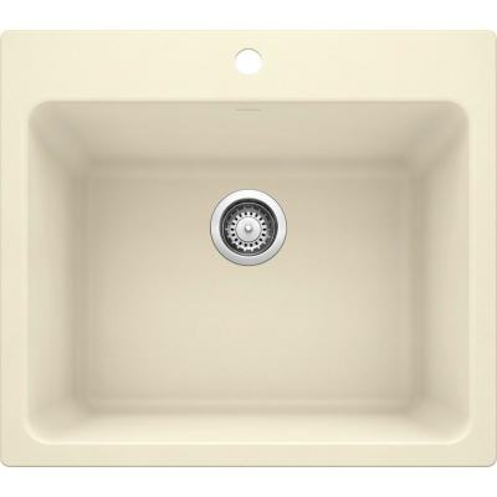 LIVEN SILGRANIT Granite Composite 25 in. x 22 in. Dual Mount Laundry Sink in Biscuit