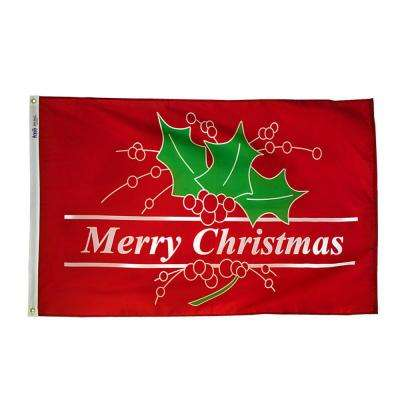 3 ft. x 5 ft. Nylon Merry Christmas Flag