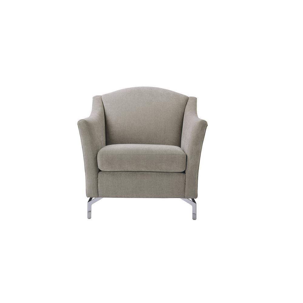SANDY WILSON Vincent Silver Grey Camelback Arm Chair