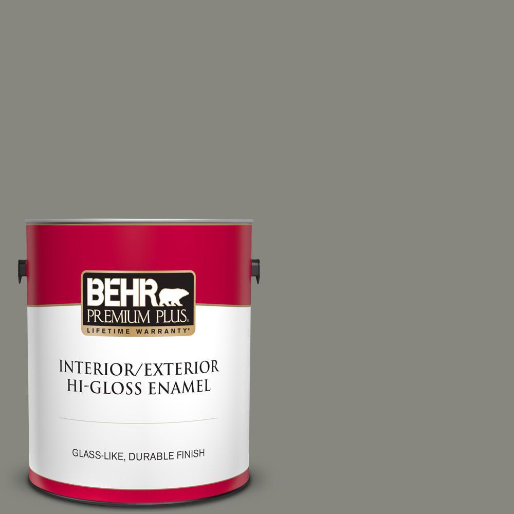 Behr Premium Plus 1 Gal Home Decorators Collection Hdc Nt 23 Wet Cement Hi Gloss Enamel Interior Exterior Paint 840001 The Home Depot