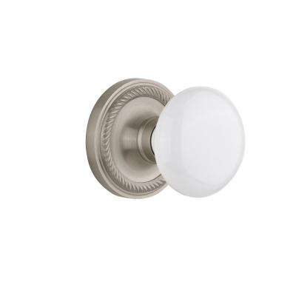 Rope Rosette 2-3/8 in. Backset Satin Nickel Privacy Bed/Bath White Porcelain Door Knob