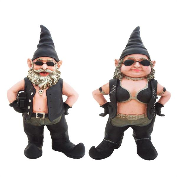 14.5 in. H Biker Dude and Babe Biker Gnomes in Leather Motorcycle Riding Gear Home and Garden Gnome Statue