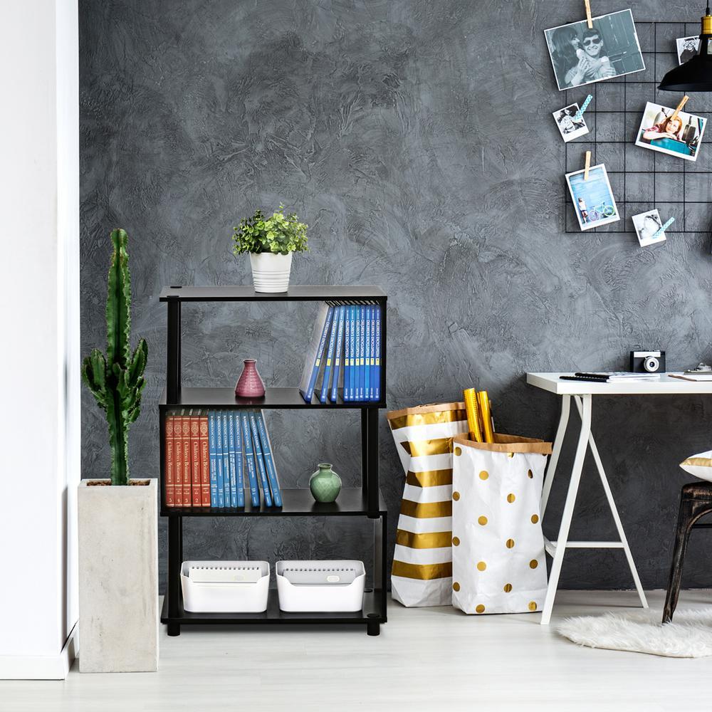 36.5 in. Espresso Plastic 4-shelf Etagere Bookcase with Open Back