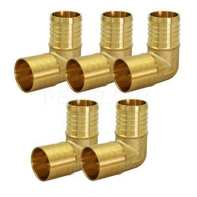 1/2 in. x 1/2 in. Brass Male Sweat x Pex Barb 90-Degree Elbow Pipe Fitting (5-Pack)