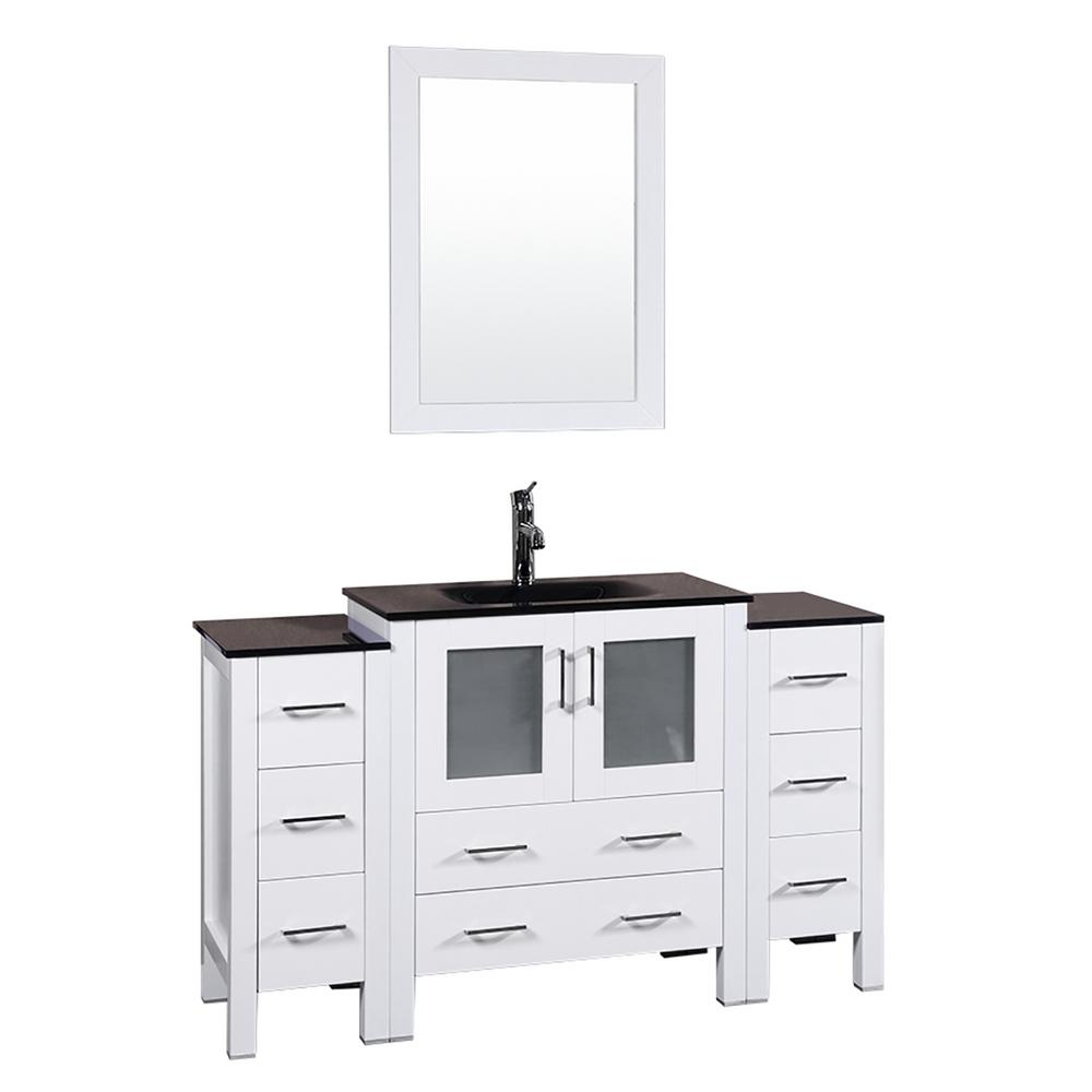 Bosconi 54 in. W Single Bath Vanity in White with Tempered Glass Vanity Top with Black Basin and Mirror