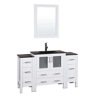 54 in. W Single Bath Vanity in White with Tempered Glass Vanity Top with Black Basin and Mirror