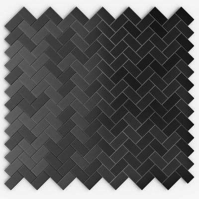 Caltrop Black Stainless 12,09 in. x 11,65 in. x 5 mm Metal Self Adhesive Wall Mosaic Tile