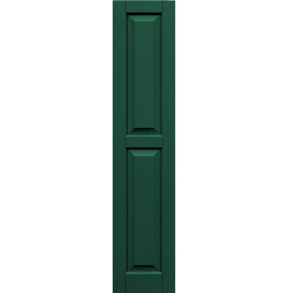 Winworks Wood Composite 12 in. x 57 in. Raised Panel Shutters Pair #633 Forest Green