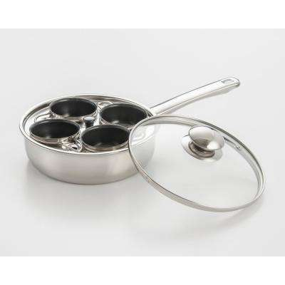 4-Cup 18/10 Stainless Steel Egg Poacher with Nonstick Egg Cups