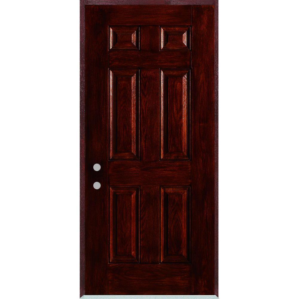 Stanley Doors 36 in. x 80 in. Right-Hand Infinity 6-Panel Stained Fiberglass Woodgrain Prehung Front Door with Brickmould
