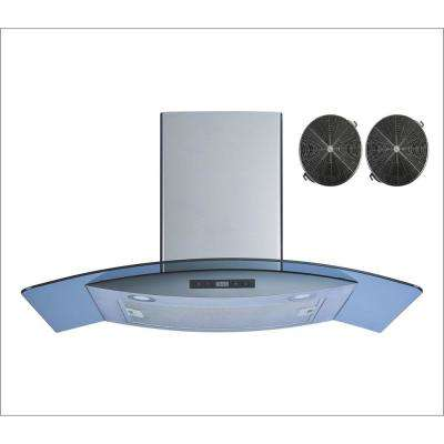 36 in. Convertible Wall Mount Range Hood in Stainless Steel/Tempered Glass with Touch Control and Carbon Filters