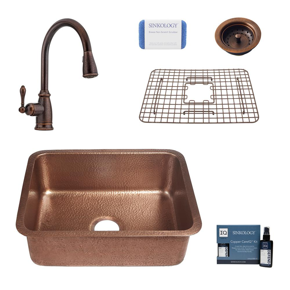 SINKOLOGY Renoir All-In-One Undermount Copper 23 in. Single Bowl Kitchen Sink with Pfister Bronze Faucet and Strainer