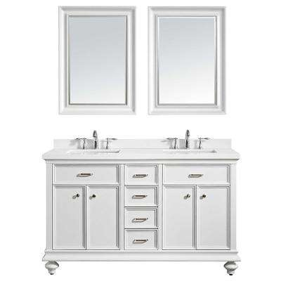 Charlotte 60 in. W x 22 in. D x 36 in. H Vanity in White with Quartz Vanity Top in White with White Basin and Mirror