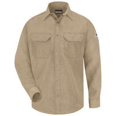 Men's Medium (Tall) Tan Nomex IIIA Snap-Front Uniform Shirt