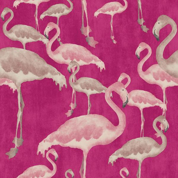 Arthouse Flamingo Beach Orchid Unpasted Wallpaper 300089