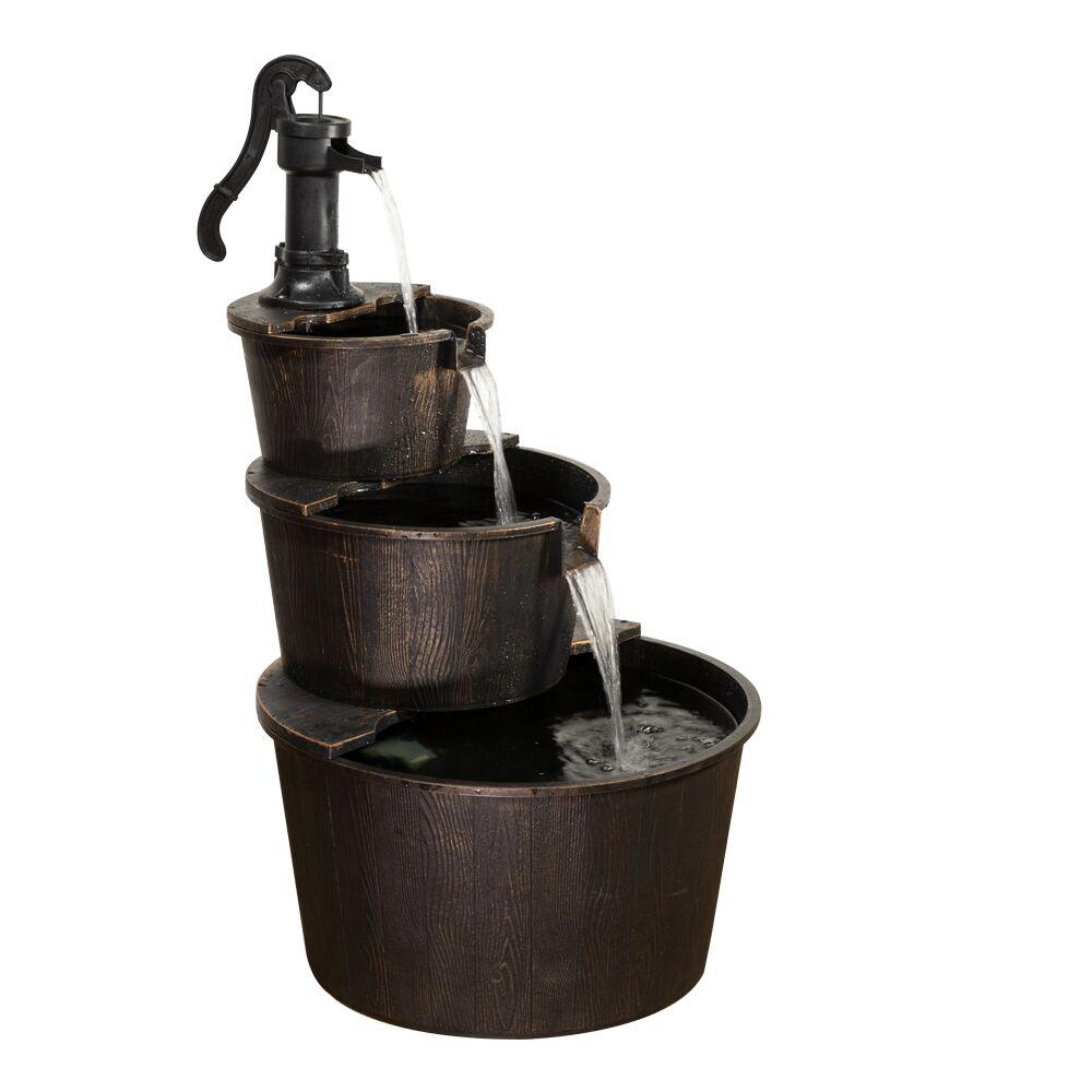 Alpine Corporation 3 Tiered Rustic Pump Outdoor Waterfall Barrel Fountain