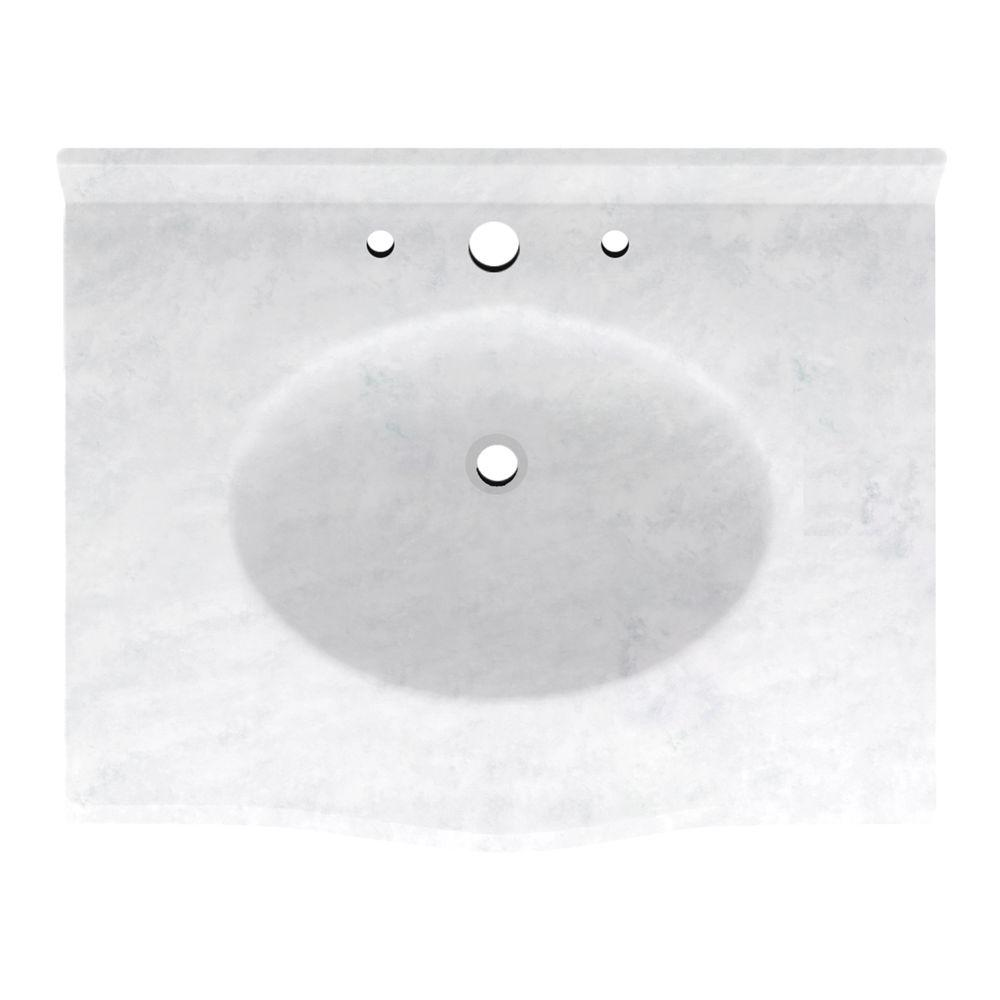 Europa 25 in. Solid Surface Vanity Top with Basin in Ice