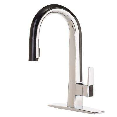 Matisse Single-Handle Pull-Down Sprayer Kitchen Faucet in Chrome and Black