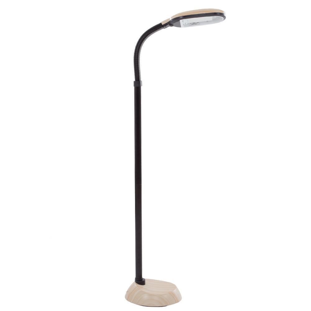 Lavish Home 63.5 in. Natural Full Spectrum Sunlight Gooseneck Floor Lamp in Light Woodgrain