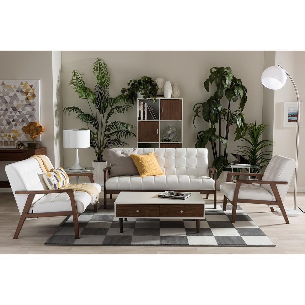 Baxton Studio Mid Century Masterpieces White Faux Leather: Baxton Studio Masterpieces 3-Piece White Living Room Suite