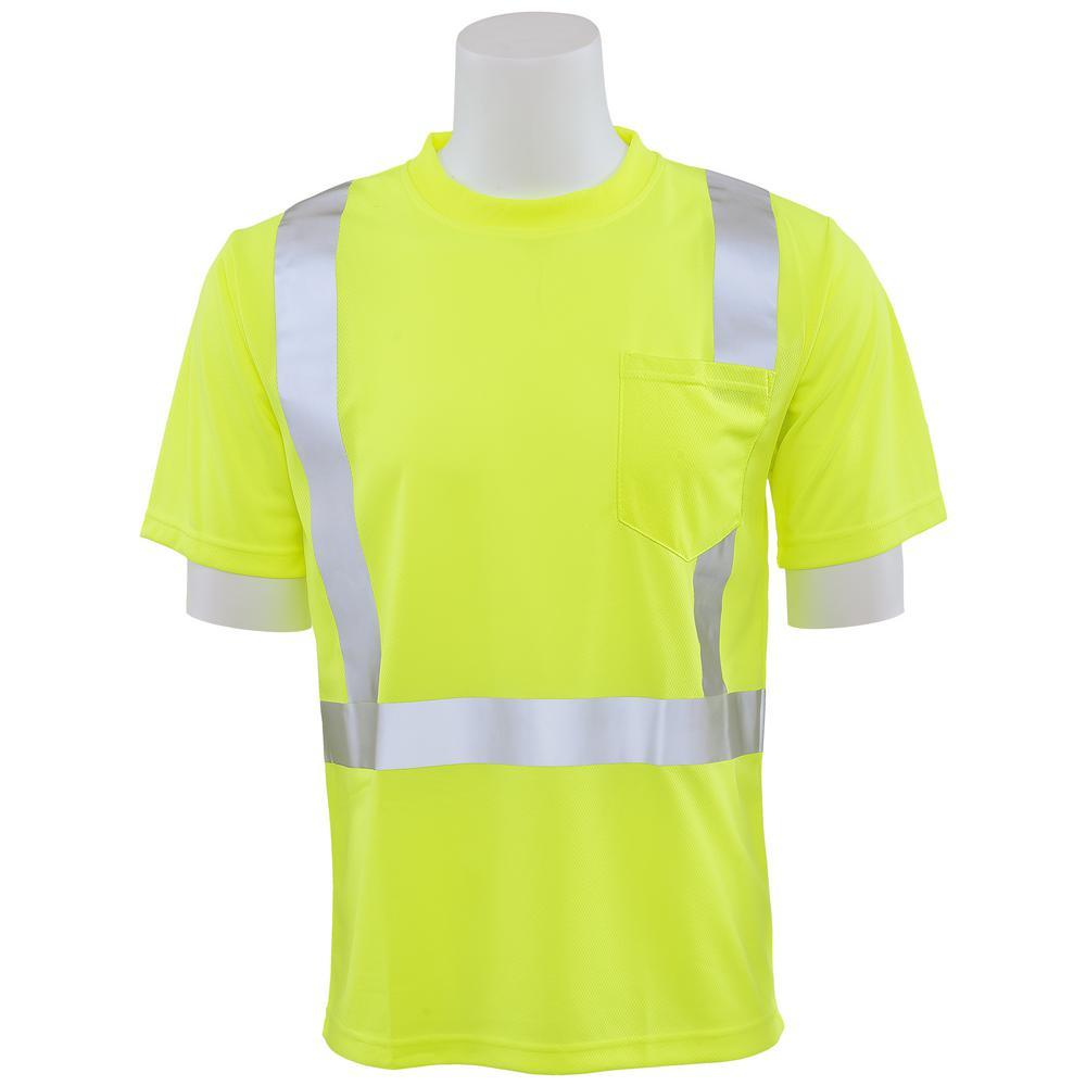 9006S XL Class 2 Short Sleeve Hi Viz Lime Unisex Birdseye Mesh T-Shirt