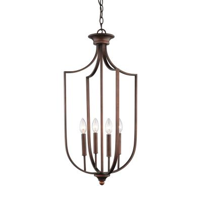 16 in. Wide 4-Light Rubbed Bronze Taper Candle Pendant