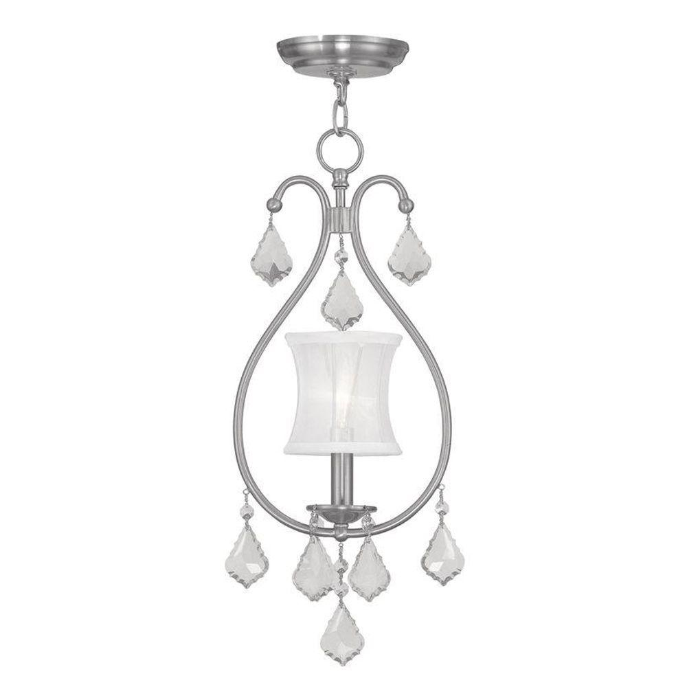 Livex Lighting 1-Light Brushed Nickel Chandelier with Off White Silk Shimmer Shade