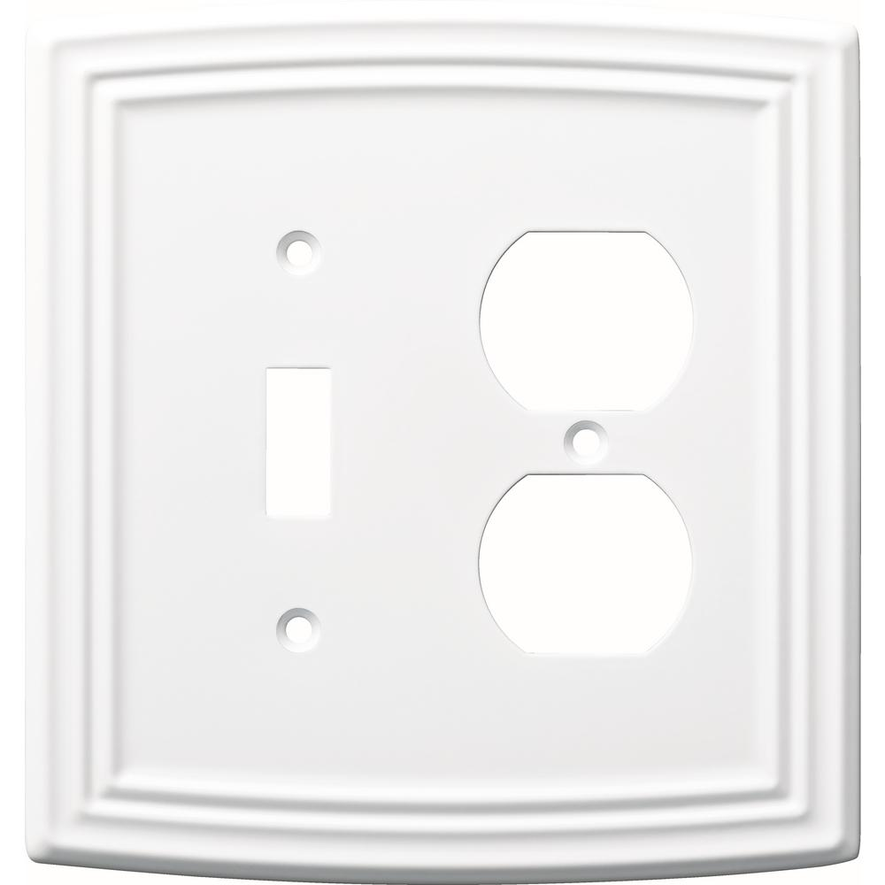 Liberty Emery Decorative Light Switch And Duplex Outlet Cover Pure White