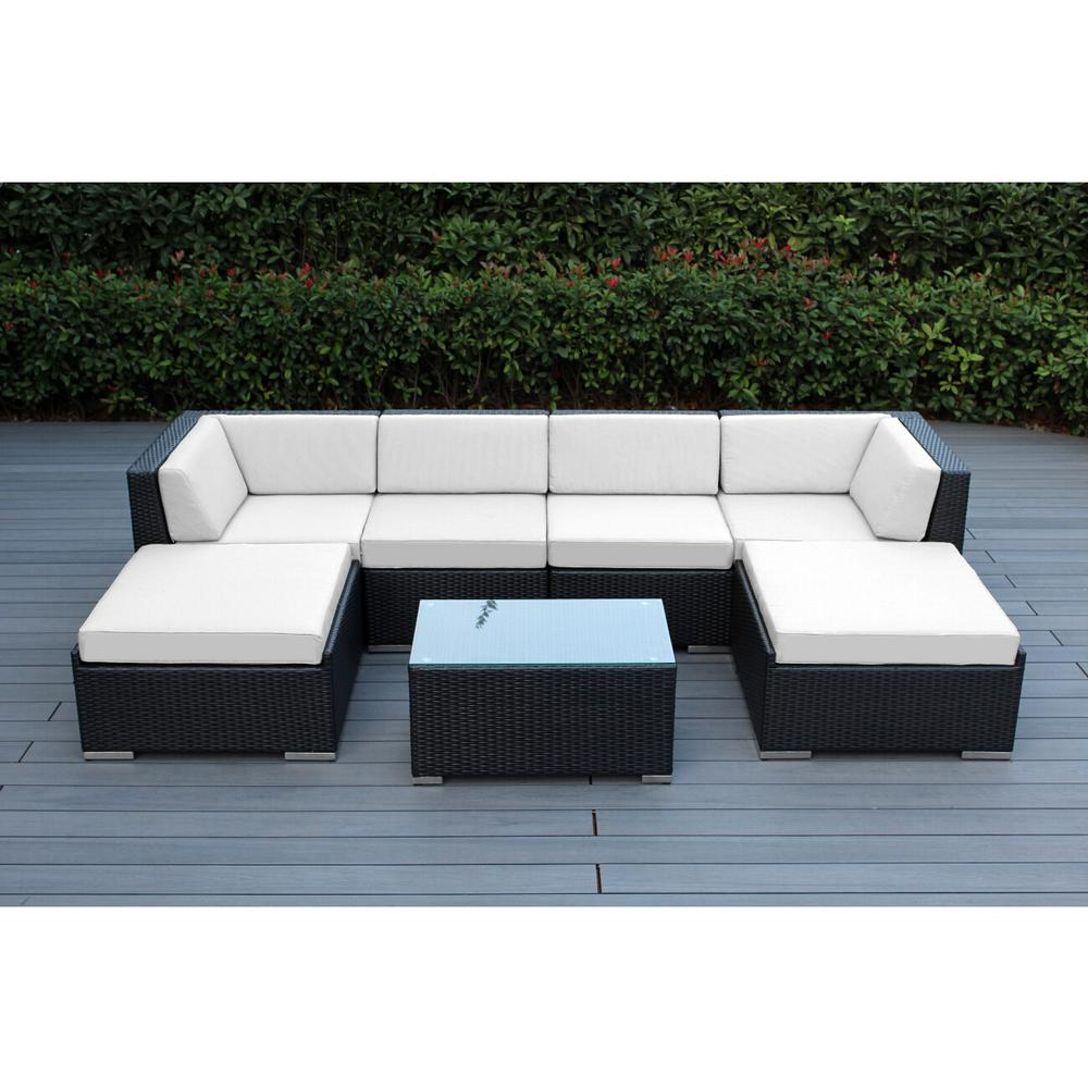Ohana black 7 piece wicker patio seating set with sunbrella natural cushions