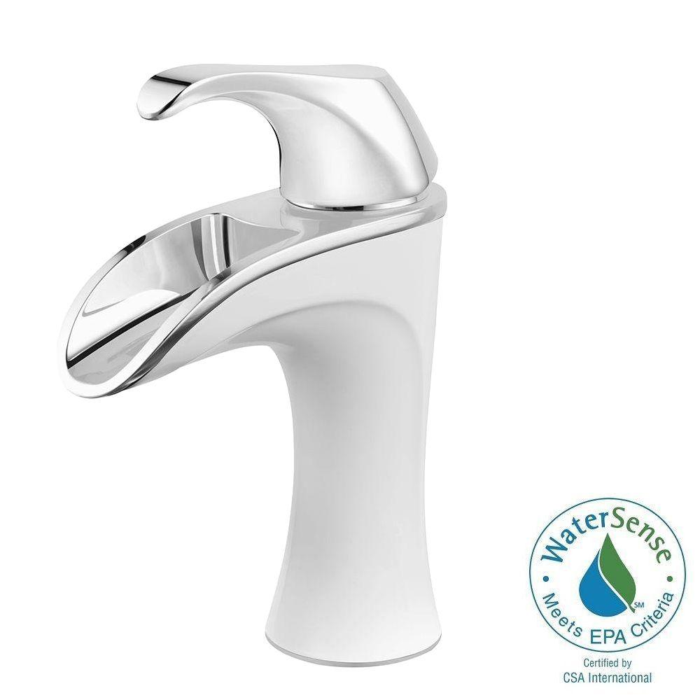Pfister Brea 4 in. Centerset Single-Handle Bathroom Faucet in Chrome and White