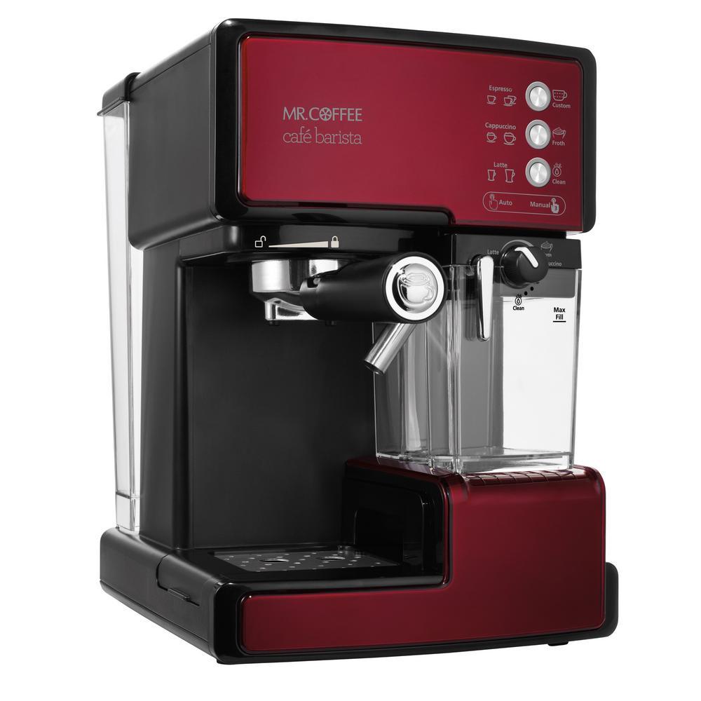 Cafe Barista Programmable Red and Black Single Serve Espresso Machine and Cappuccino Maker
