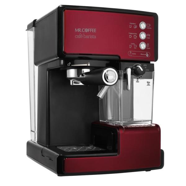 Cafe Barista Programmable Red and Black Single Serve Espresso Machine and Cappuccino Maker