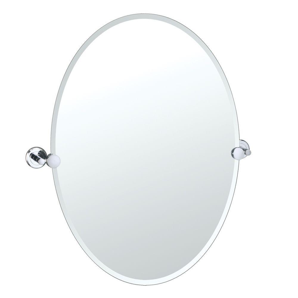 Latitude II 24 in. x 27 in. Frameless Oval Mirror in Chrome