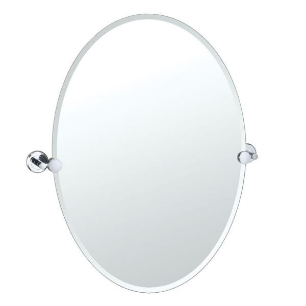 Latitude II 24 in. x 27 in. Frameless Oval Mirror in Chrome