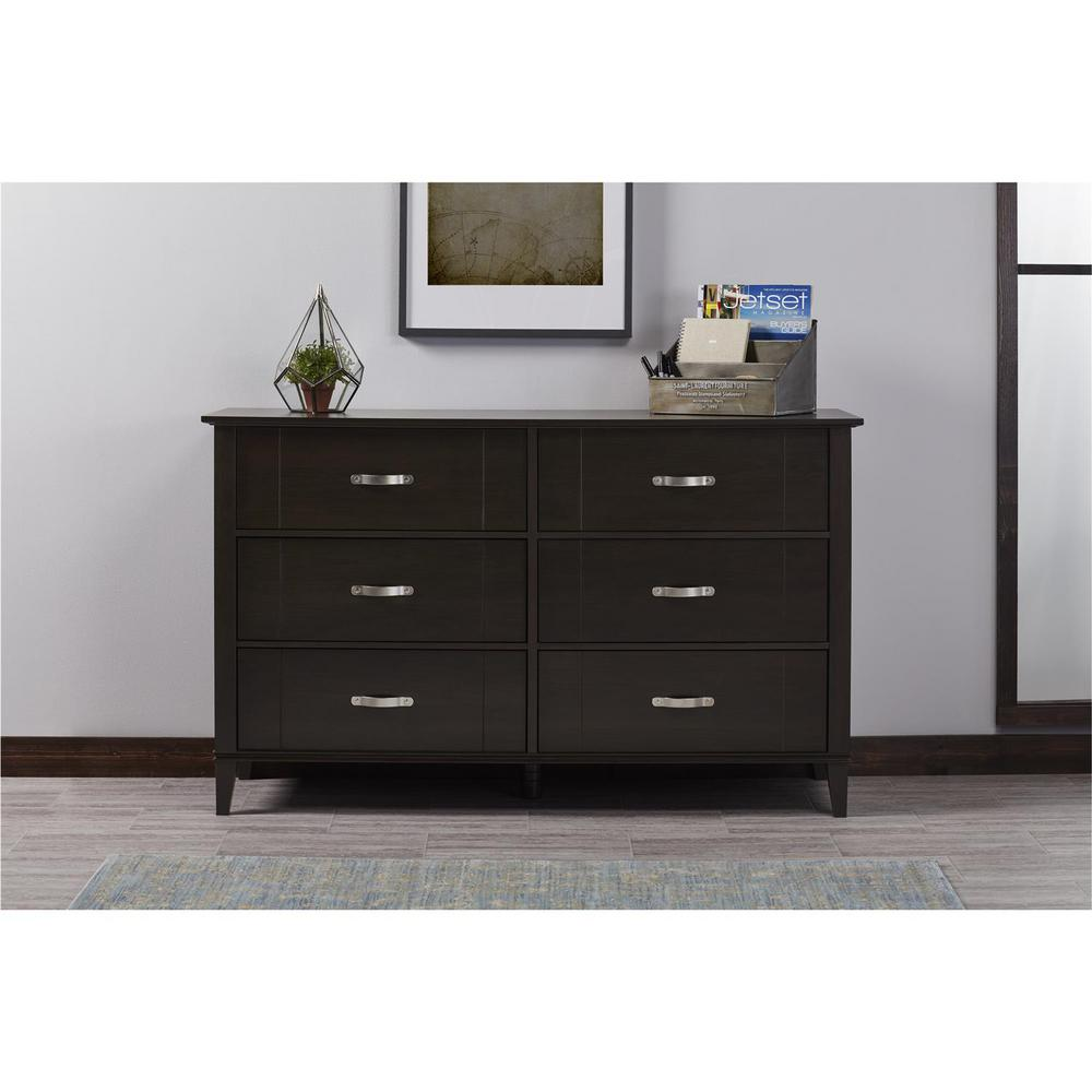 Beau Altra Furniture Quinn 6 Drawer Espresso Dresser