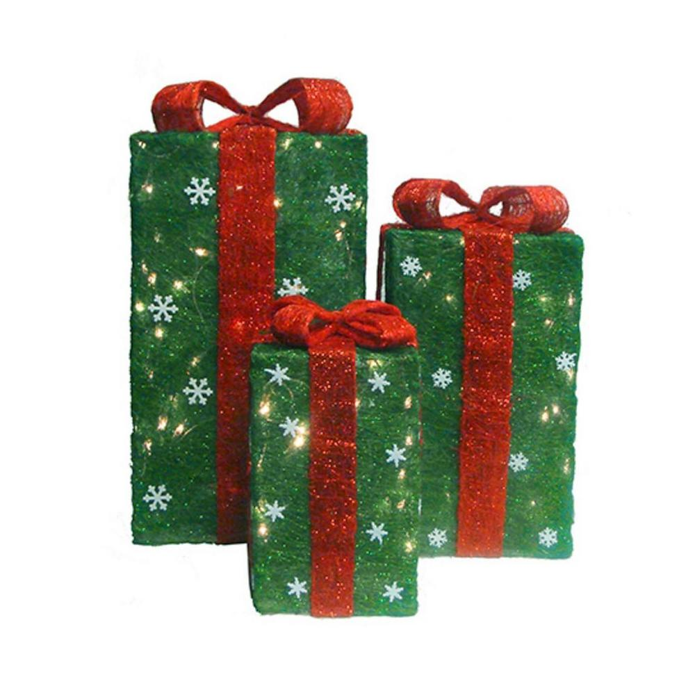christmas yard art decorations lighted tall green sisal gift boxes 3