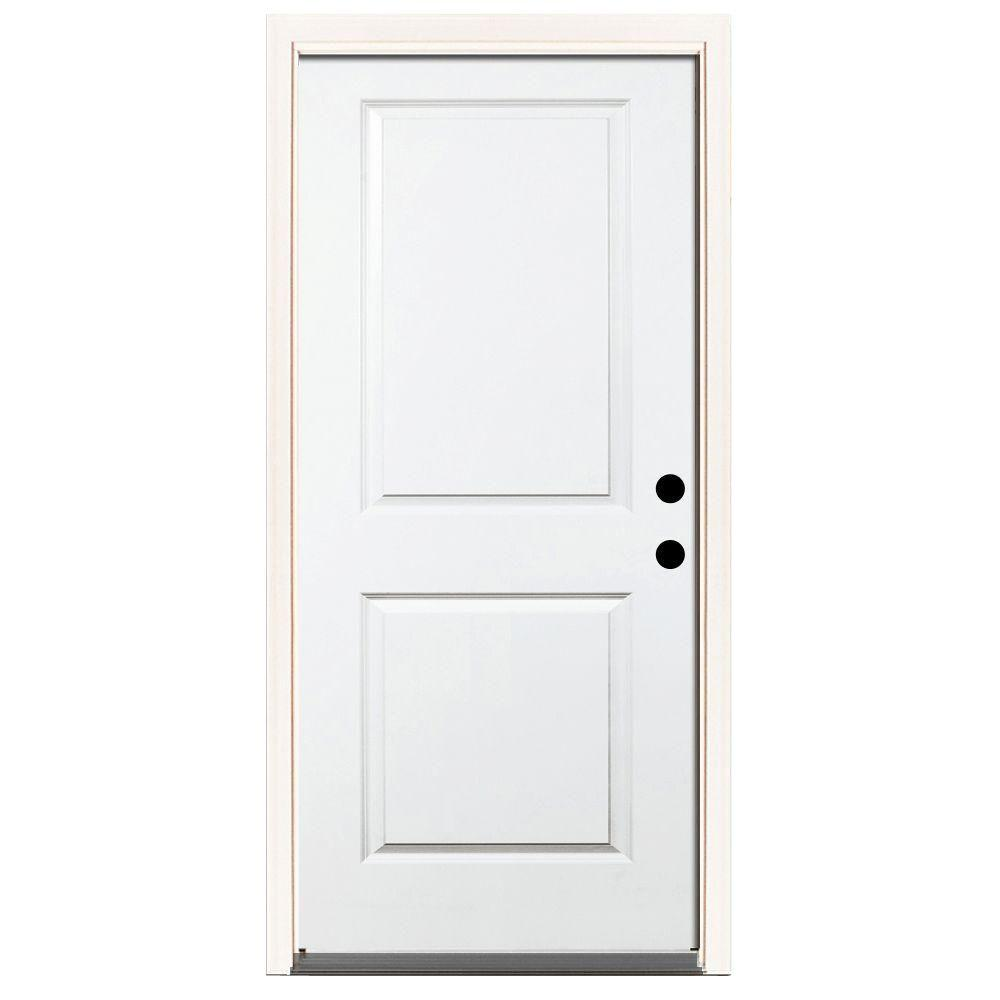 Steves & Sons 36 in. x 80 in. Premium 2-Panel Square Primed White Steel Prehung Front Door with 36 in. Left-Hand Inswing & 6 in. Wall