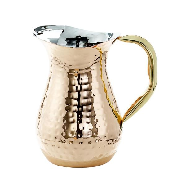 Old Dutch 1.5 Qt. Decor Copper Hammered Water Pitcher in Brass Ice Guard and Handle