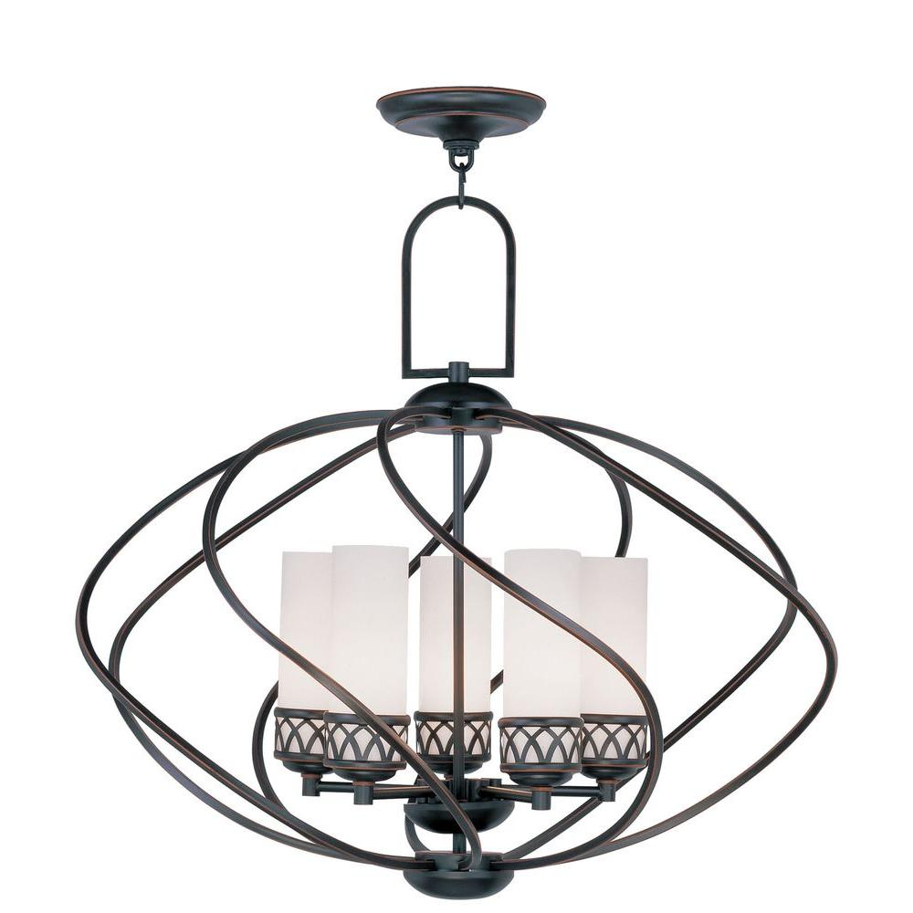 Livex Lighting Providence 5-Light Olde Bronze Incandescent Ceiling Chandelier
