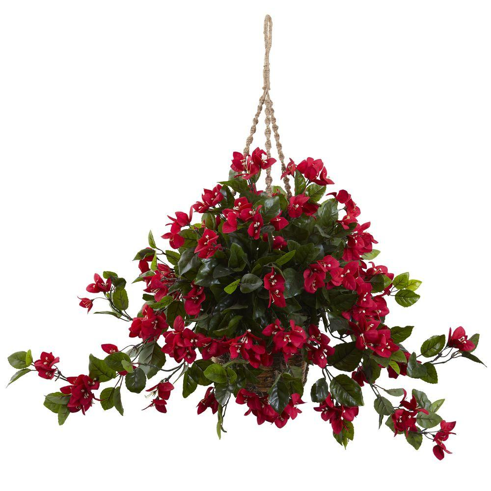 Nearly Natural Bougainvillea Hanging Basket 6845 Rd The Home Depot
