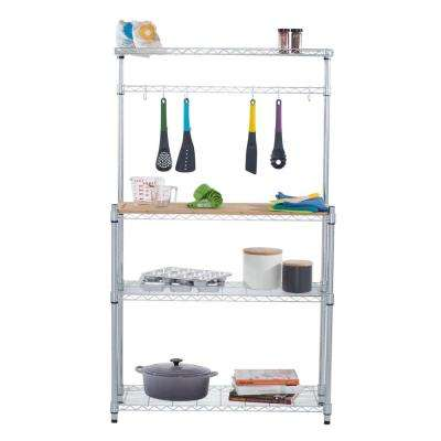 Chrome 4-Tier Steel Wire Shelving Unit (14 in. W x 61 in. H x 36 in. D)