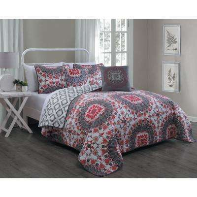 Malta 5-piece Coral Queen Quilt Set