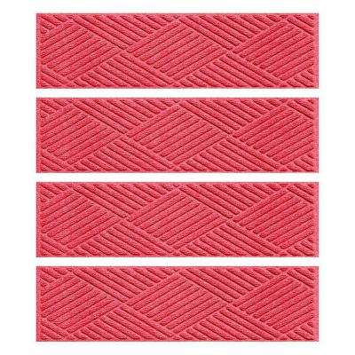 Red 8.5 in. x 30 in. Diamonds Stair Tread Cover (Set of 4)