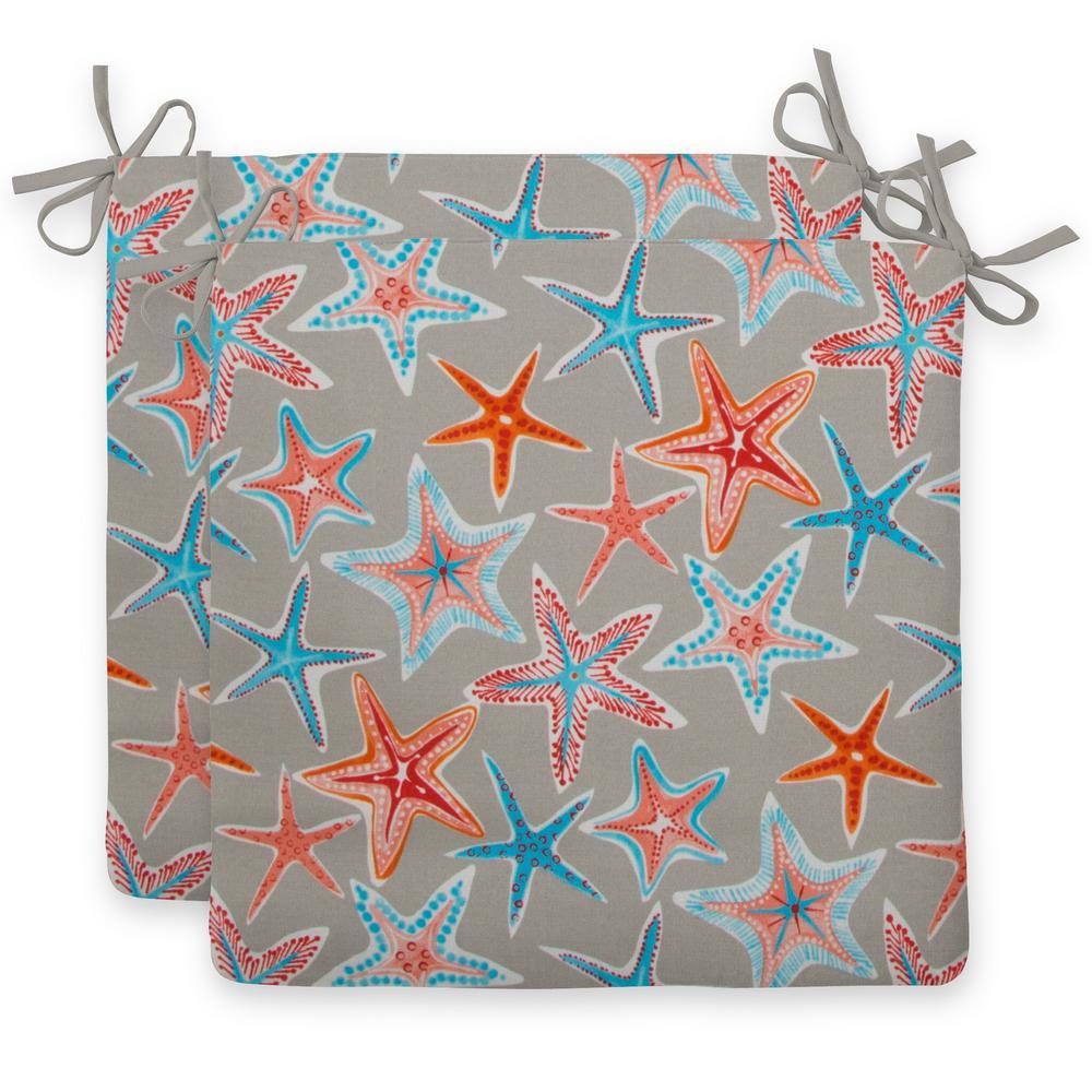 Starstruck Orange Rectangular Outdoor Seat Cushion (2-Pack)
