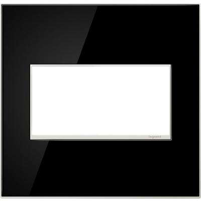 2-Gang 2 Module Wall Plate, Mirror Black
