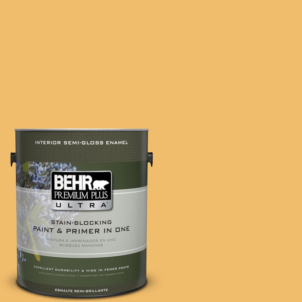 BEHR Premium Plus Ultra Home Decorators Collection 1-gal. #HDC-MD-24 Luscious Lemon Semi-Gloss Enamel Interior Paint