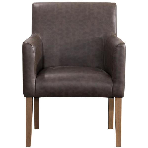 Homepop Brown Faux Leather Lexington Dining Chair