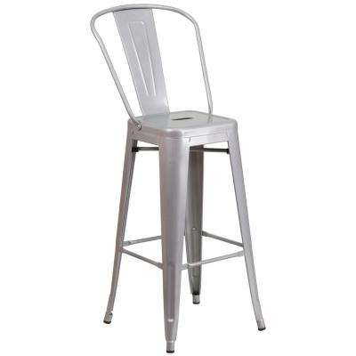 30.25 in. Gray Bar Stool